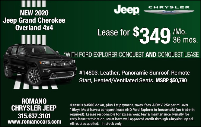 New 2020 Jeep Grand Cherokee Overland 4x4 Leases