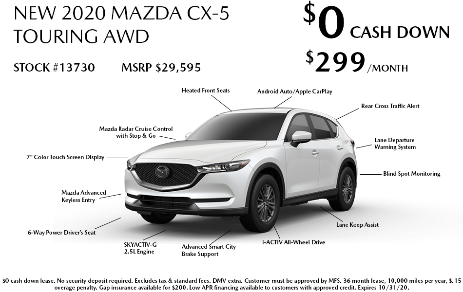 New 2020 Mazda CX-5 Touring AWD Leases