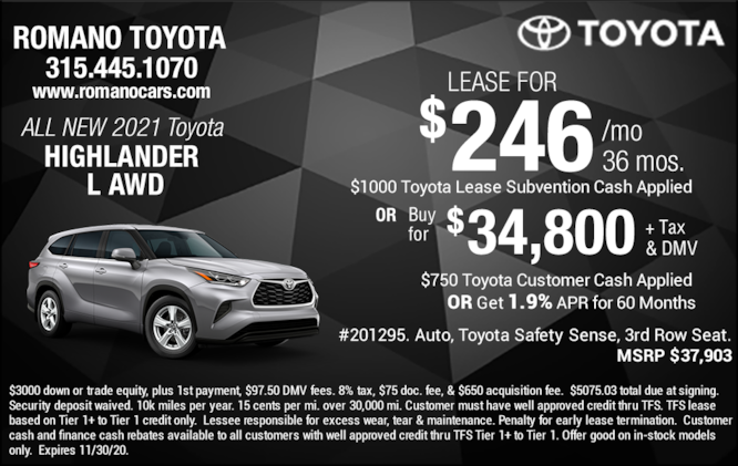 New 2021 Toyota Highlander L Leases