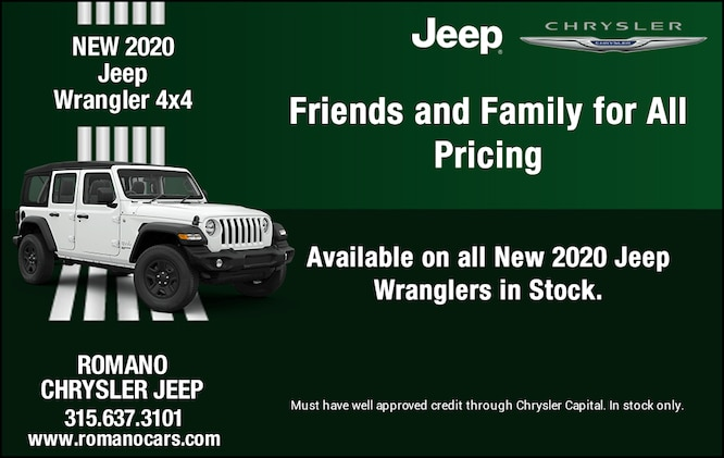 Friends and Family Pricing for All on New 2020 Jeep Wranglers