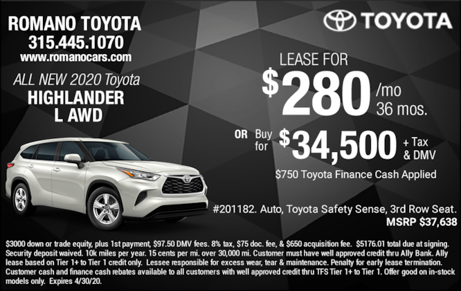 New 2020 Toyota Highlander L Leases