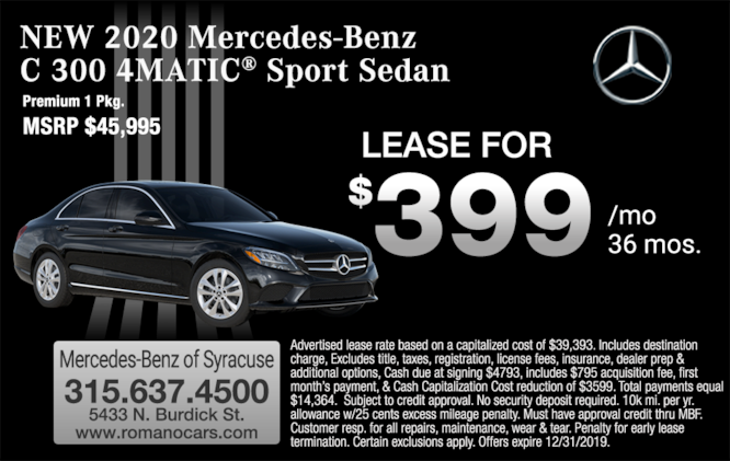 2020 Mercedes-Benz C 300 Sedan Lease