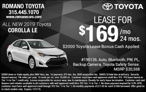 New 2019 Toyota Corolla LE Leases