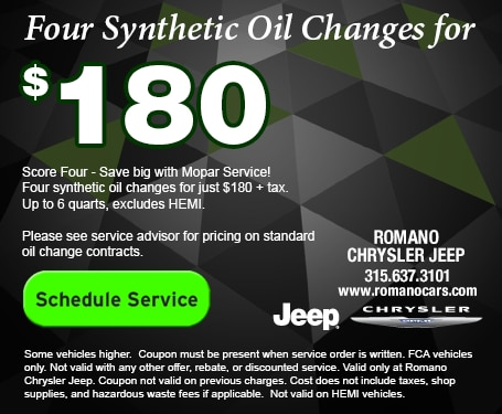 4 Synthetic Oil Changes for $180 at Romano Chrysler Jeep