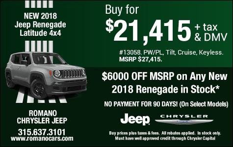 $5500 Off MSRP on New 2018 Jeep Renegade Latitudes
