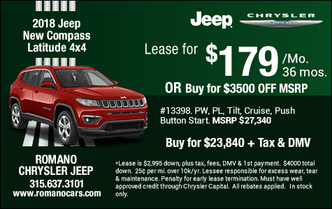 New 2018 Jeep Compass Latitude Specials Syracuse