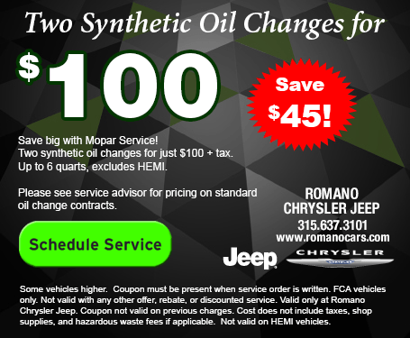 2 Synthetic Oil Changes for $100 at Romano Chrysler Jeep