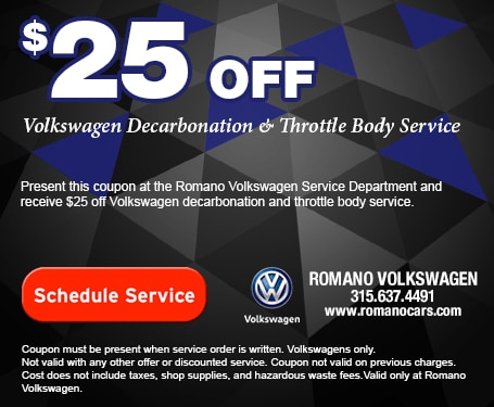 $25 Off Decarbonation and Throttle Body Service at Romano VW