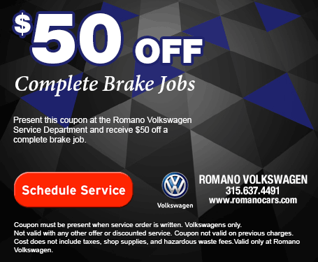 VW Brake Service Coupon for Romano Volkswagen Serving Syracuse