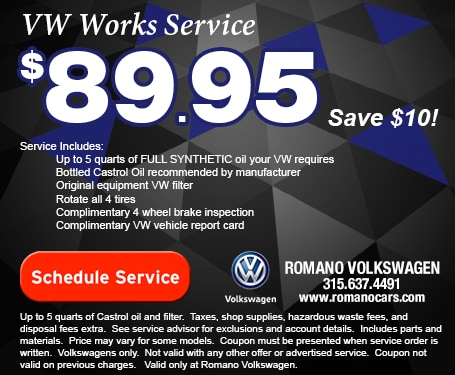 VW Works Oil Change, Tire Rotation, and Brake Inspection Service Coupon Syracuse