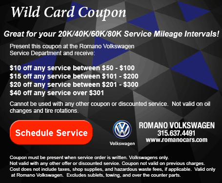 Service Discount Coupon for Romano VW Serving Syracuse