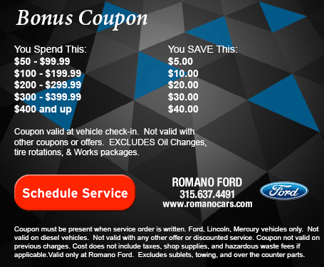 Ford Service Discount Savings Coupon - Romano Ford Serving Syracuse