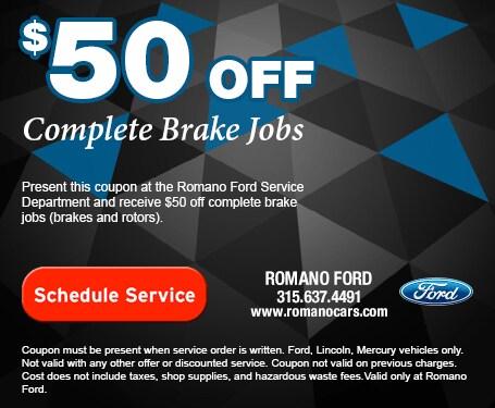 Ford Brake Repair Service Coupon for Syracuse NY