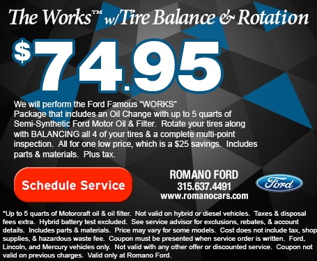 Ford's The Works Service with Tire Balance & Rotation
