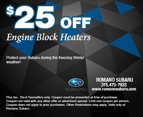 $25 Off Subaru Engine Block Heaters