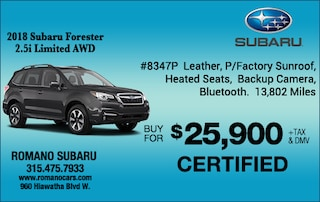 Subaru Certified 2018 Forester 2.5i Limited AWD