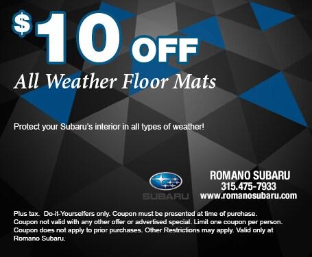 $10 Off Subaru All Weather Floor Mats