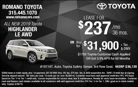 Toyota Highlander 2017 Lease >> New Highlander Specials At Romano Toyota East Syracuse Ny
