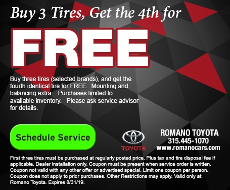 Toyota Tire Deals >> Auto Service Specials Coupons Deals Near Me Syracuse Ny Romano
