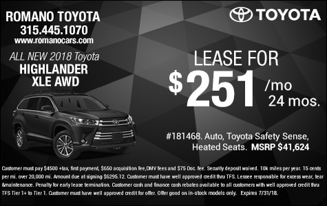 New 2018 Toyota Highlander XLE Lease Specials Syracuse