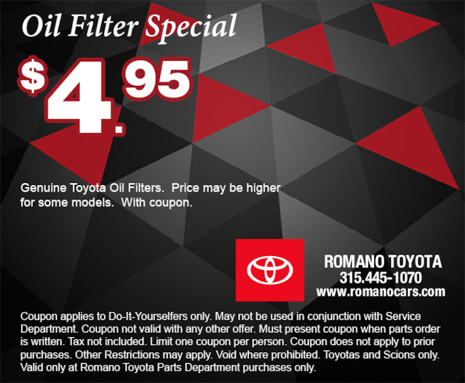 Genuine Toyota Oil Filter Special Coupon for Do-It-Yourselfers