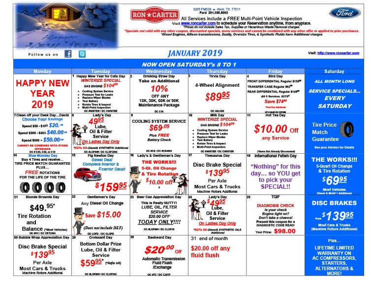 Ron Carter Ford Alvin >> Ford Service Specials | Ron Carter Ford