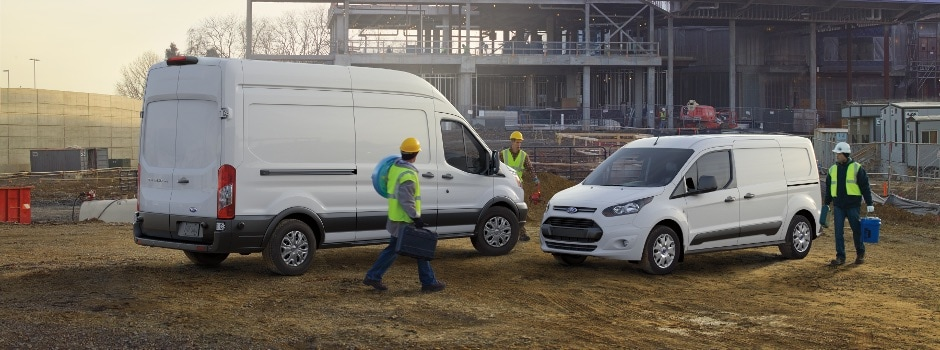 Two Ford Commercial vehicles at a job site