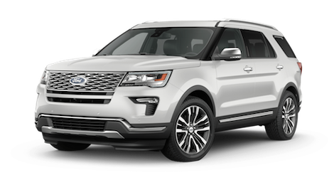A white 2019 Ford Explorer Platinum