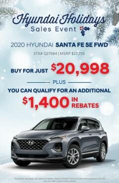 Hyundai Holidays Sales Event- 2020 Hyundai Santa Fe SE FWD