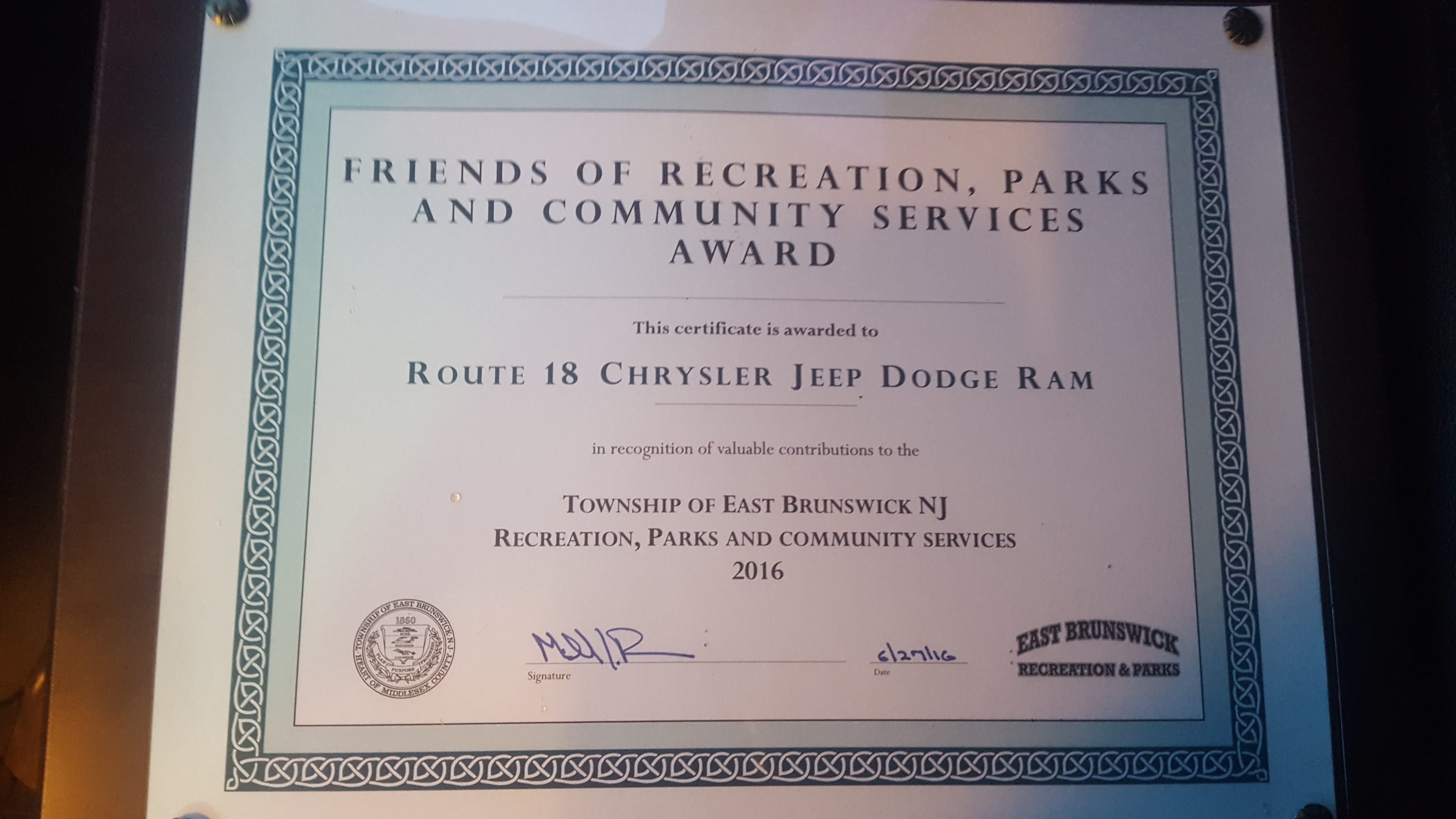 East Brunswick Friends of Recreation, Parks and Community Services Business Award