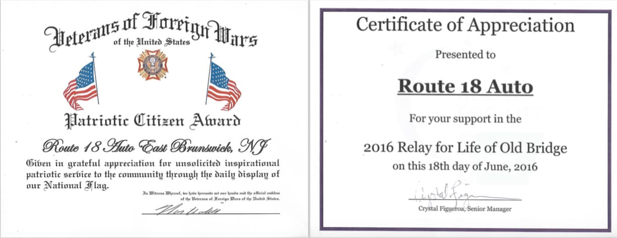 VFW Relay for Life Certificates