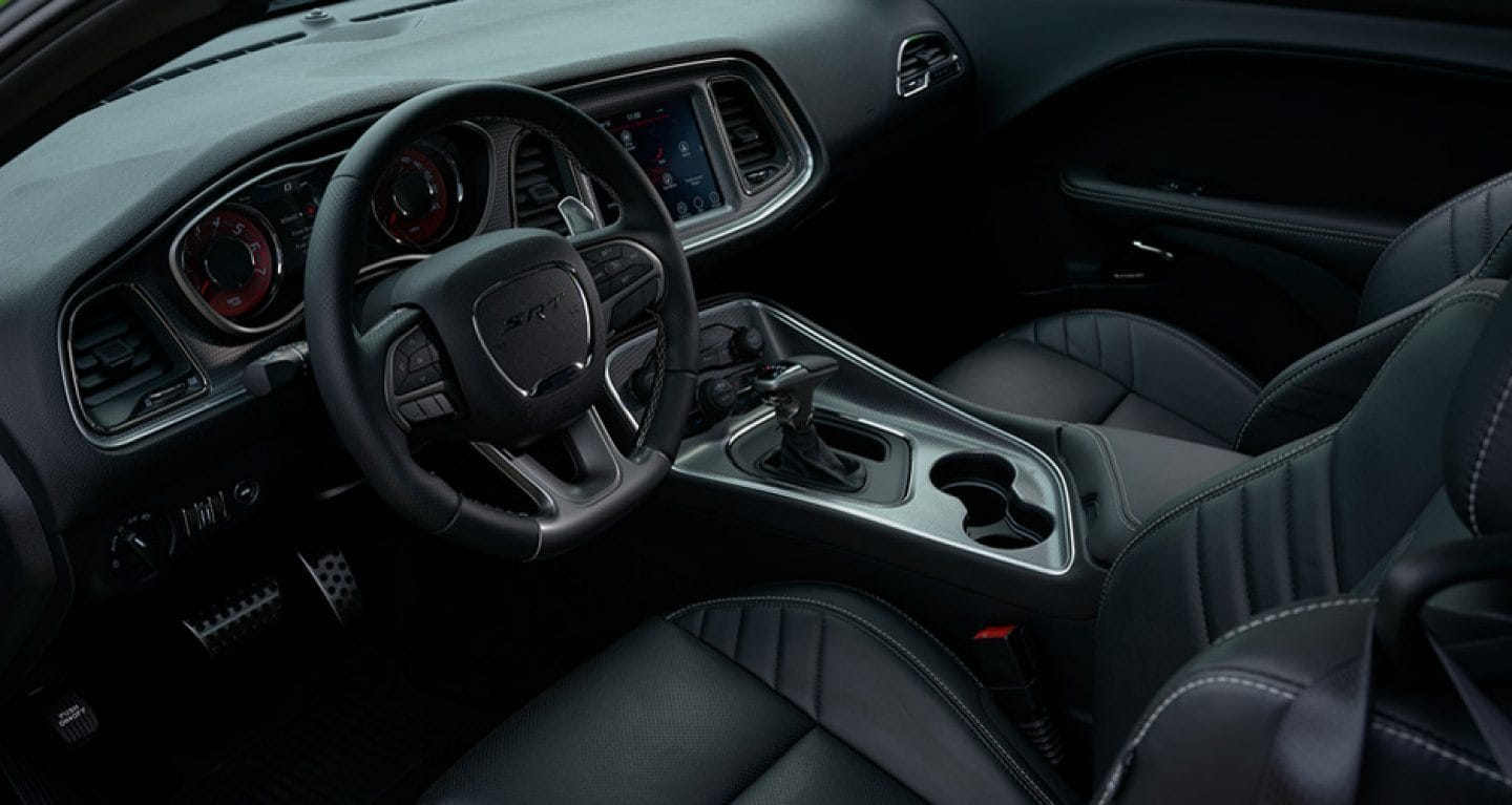 Interior of Dodge Challenger from Route 1 USA