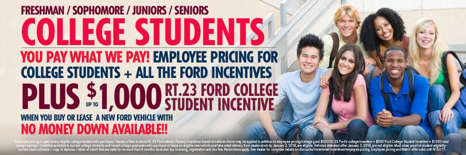 Route 23 Ford College Student Special Incentive Nj