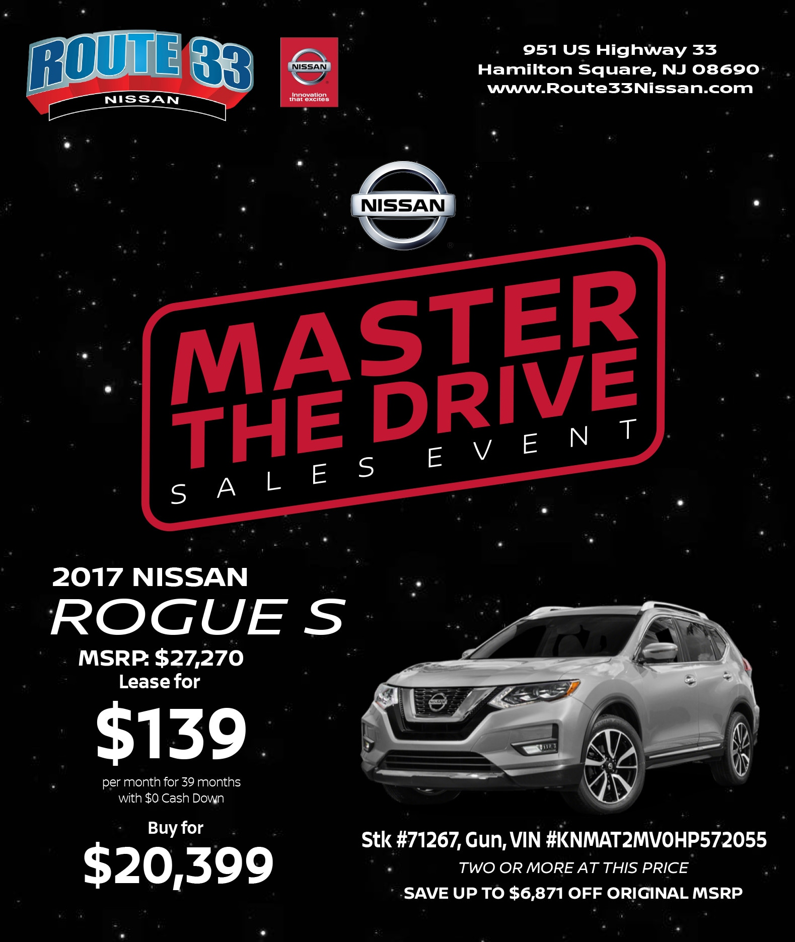 Rt 33 Nissan >> Master The Drive Rogue One Specials Route 33 Nissan