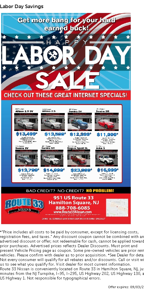 Rt 33 Nissan >> Used Car Specials In Hamilton Square Nj Edison Nissan