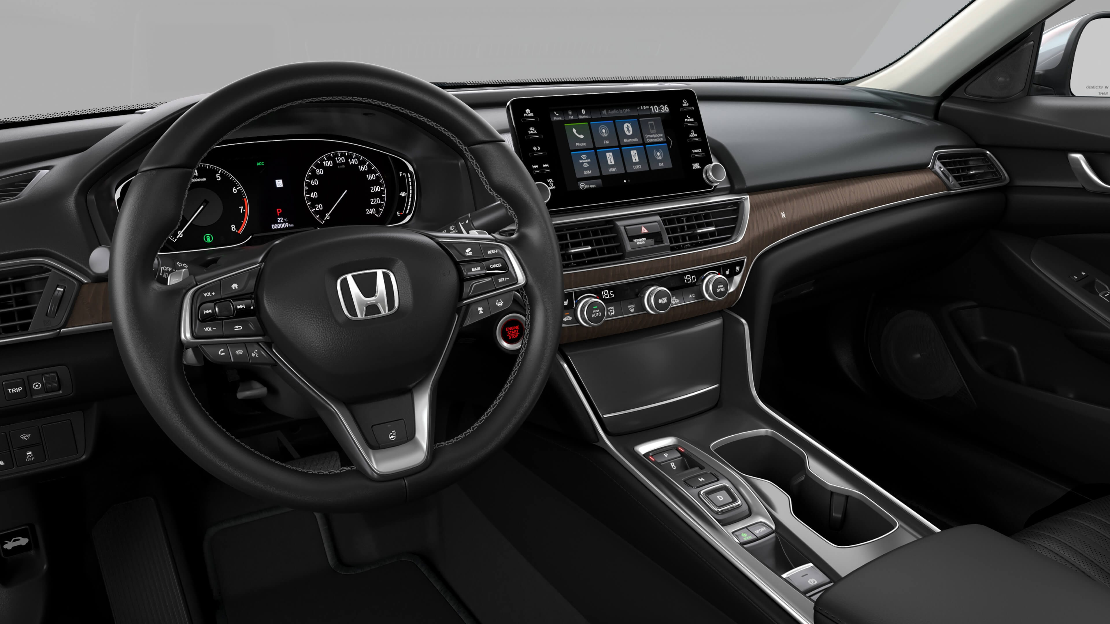 Interior view of the 2019 honda accord