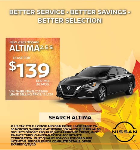 2020 Nissan Altima October Offer
