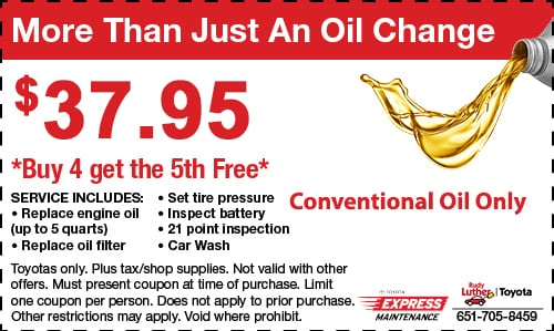 Oil Change Coupons Mn >> Service Specials Rudy Luther Toyota