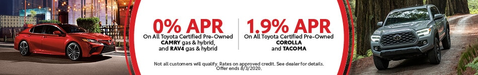 0% APR On All Toyota Certified Pre-Owned Select Modes