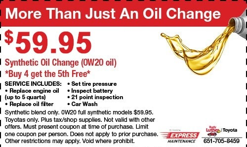 graphic relating to Take 5 Oil Change Coupons Printable called Provider Promotions Rudy Luther Toyota