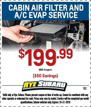 Cabin Air Filter & A/C Evap Service