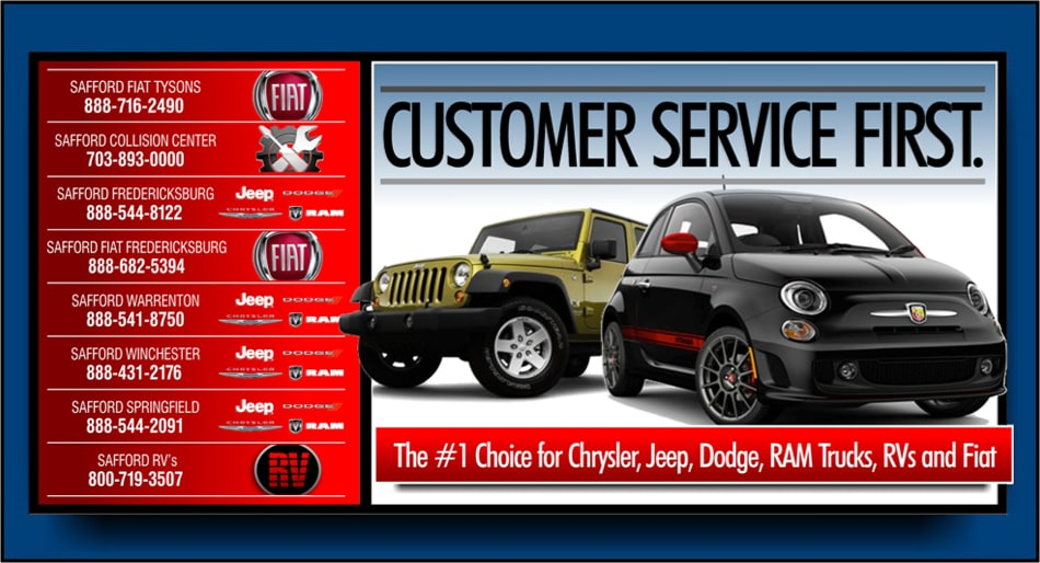 Chrysler Of Culpeper >> Fiat Chrysler Dodge Jeep VA | Safford Auto Group | New Used Cars Trucks SUVS Virginia & DC Area