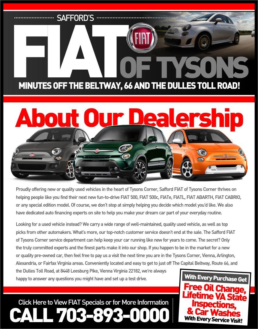 About Us  Safford FIAT of Tysons Corner  FIAT Dealer serving
