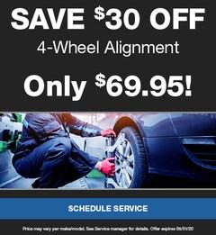 Save $30 Off 4-Wheel Alignment