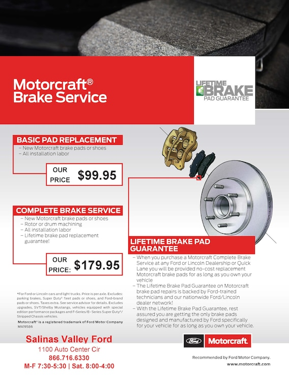 Brake Service Coupons >> Service Specials Coupons Salinas Valley Ford