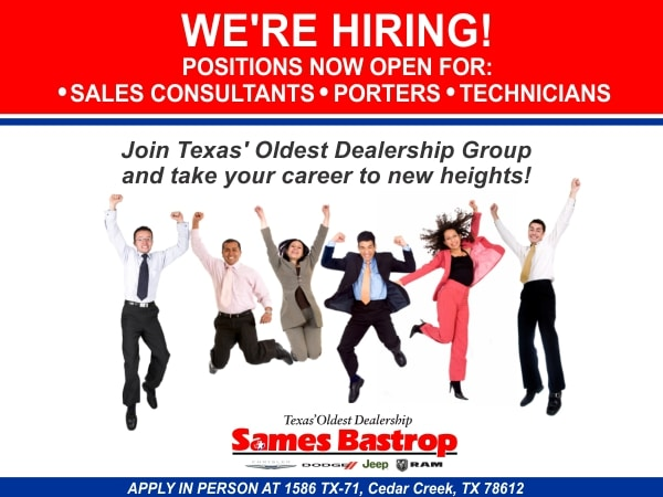 Sames Ford Bastrop >> Employment Opportunities Sames Auto Group