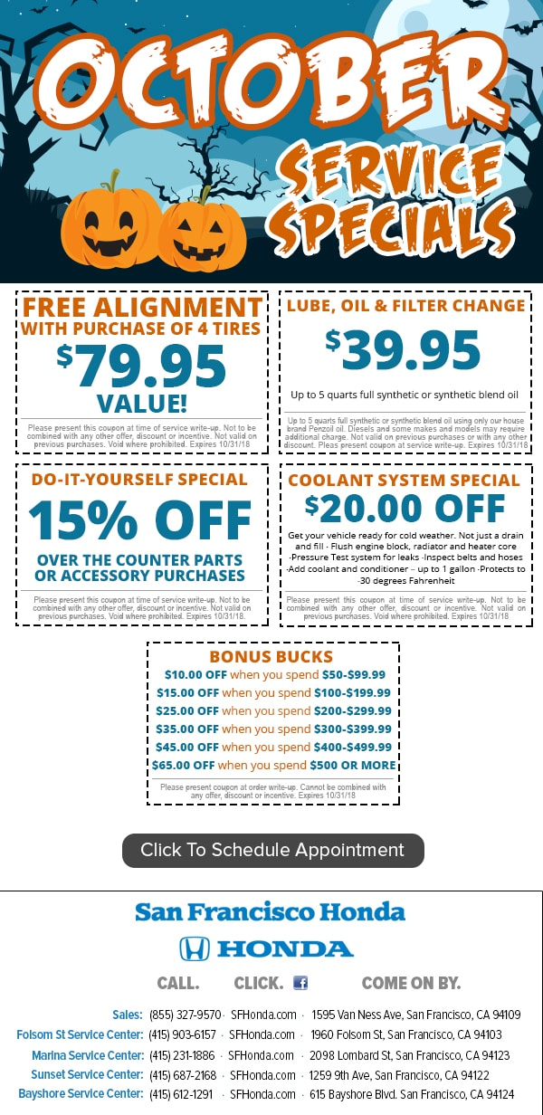 Honda Service Coupon Specials SF Bay Area