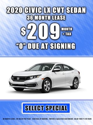 2020 CIVIC LEASE $209 MONTH + TAX