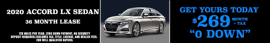 2020 ACCORD SPECIAL LEASE $269 MONTH + TAX