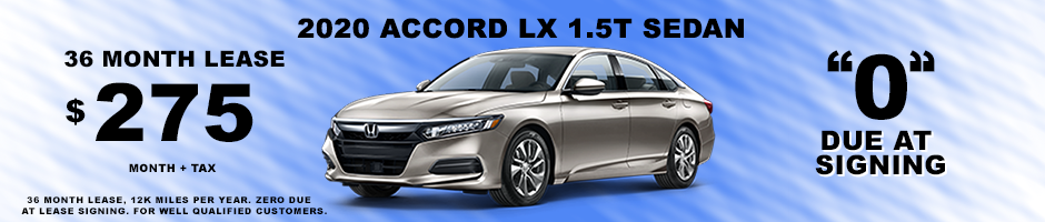 2020 ACCORD LX 1.5T SPECIAL LEASE $275 MONTH + TAX